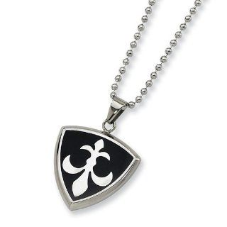 Chisel Stainless Steel Black Enamel Fleur de Lis Medallion Necklace on 24 Inch Bead Chain Pendant Necklaces Jewelry