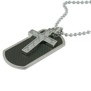 Mens Stainless Steel Cross and Dog Tag Pendant with Carbon Fiber