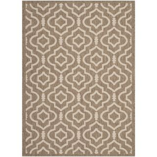 Safavieh Indoor/ Outdoor Courtyard Brown/ Bone Geometric pattern Rug (53 X 77)