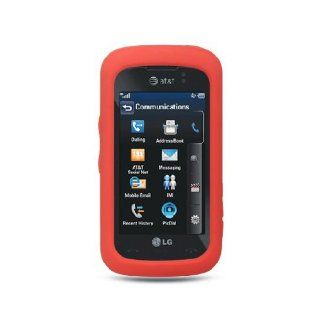 Red Soft Silicone Gel Skin Cover Case for LG Encore GT550 Cell Phones & Accessories