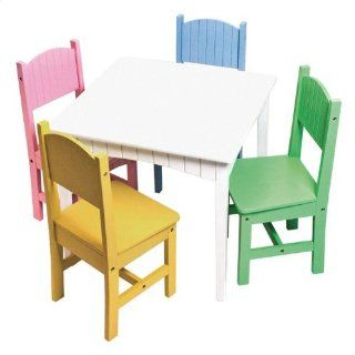 Lipper International 553 Child's 5 Piece Set, White Table with Bead Board Detail on Apron & 4 Chairs, Assorted Colors   Childrens Table And Chair Sets