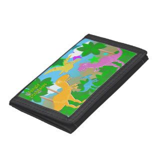Cute Cartoon Jungle Dinosaurs Kids Trifold Wallets
