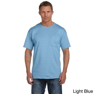 Fruit Of The Loom Fruit Of The Loom Mens Heavyweight Cotton Chest Pocket T shirt Blue Size XXL