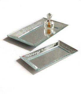 Two's Company Exquisite? Etched Glass Mirror Trays, Set of 2   Wall Mounted Mirrors