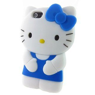 Blue 3D Lovely Hello Kitty Soft Silicone Skin Case Cover Shell Protector for Iphone 5 5g 5th Cell Phones & Accessories