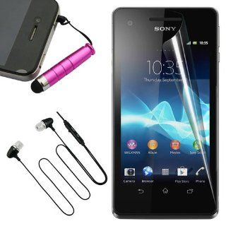 Skque Clear Anti Scratch Screen Protector Skin Film + Pink Stylus Pen with 3.5mm Anti Dust Plug + Black 3.5mm Stereo Headset Earphone with mic for Sony Xperia V LT25i Cellphone Cell Phones & Accessories