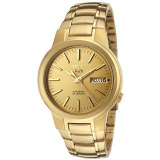Seiko Men's SNKA10 Seiko 5 Automatic Gold Dial Gold Tone Stainless Steel Watch Seiko Watches