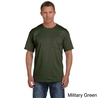Fruit Of The Loom Fruit Of The Loom Mens Heavyweight Cotton Chest Pocket T shirt Green Size XXL