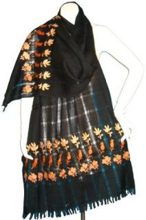 "& almost free gift wrapping   Soft Woolen Shawl with ""Ari"" Design Work   Black with Orange Ari Work Clothing"