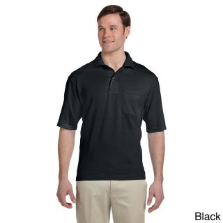 Jerzees Jerzees Mens Clean finished Pocket Polo Sport Jersey Black Size XXL
