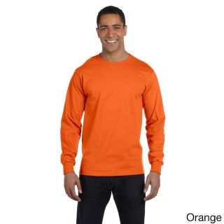 Gildan Mens Dry Blend Long Sleeve T shirt Orange Size XXL
