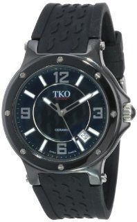 TKO ORLOGI Women's TK578 BK Genuine Ceramic Black Rubber Strap Watch Watches