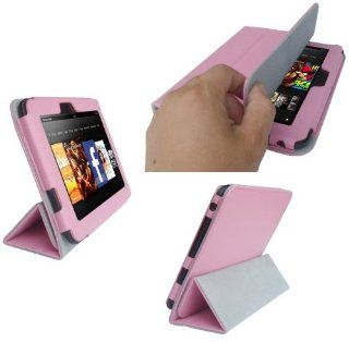 "HappyZone PU Leather Case with Build in Stand For Kindle Fire HD 7"" Display (1st Generation)   Pink Computers & Accessories"