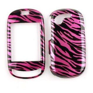 PINK/BLACK ZEBRA PRINT DESIGN CELL PHONE COVER FACEPLATE CASE FOR SAMSUNG GRAVITY TOUCH (T669)