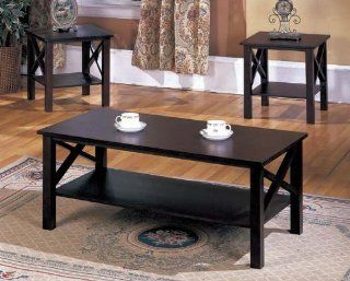 King's Brand 3 Pc. Cherry Finish Wood X Style Casual Coffee Table & 2 End Tables Occasional Set   Coffee Tables And End Tables