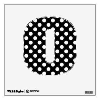 Black & White Polka Dot Number 0 Wall Decal
