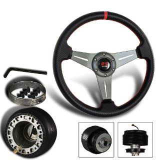320mm 6 Hole Carbon Fiber Style PVC Leather Steering Wheel + Ford Mustang Hub Adapter Automotive