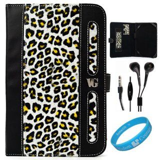 Black / Yellow Leopard Print Executive Leather Portfolio Case Cover with Elastic Zebra Print Hand Strap for Sprint HTC EVO View 4G Tablet and HTC Flyer Wifi Android Wireless Tablet + Black handsfree Headphones with Mic + SumacLife TM Wisdom*Courage Wristba