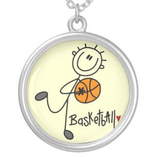Simple Stick Figure Basketball T shirts and Gifts Necklaces