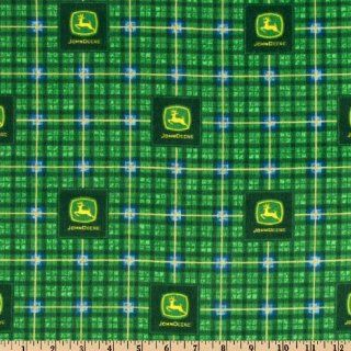 42'' Wide John Deere Flannel Plaid Green Fabric By The Yard