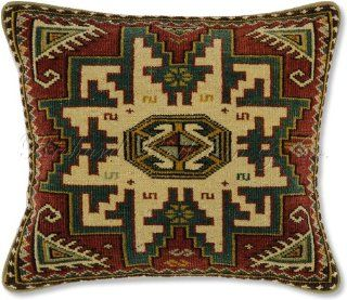 "Shop 100% Wool Handmade Hand Knotted Authentic Lesghi Star Kuba Shirvan Caucasian Oriental Rug Decorative Throw Pillow. 12.5"" x 15.5"". at the  Home D�cor Store"
