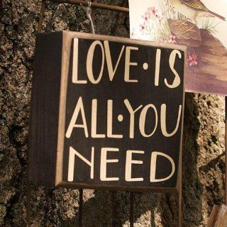 Love Is All You Need Box Sign   Black / White   Decorative Signs
