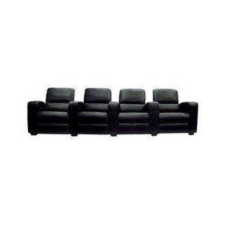 Wholesale Interiors Ht638 black 4 Seat Black Leather Theatre Seating   Recliners