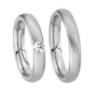 Brushed White 14k Gold Diamond His&Hers Wedding Bands Jewelry