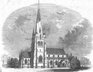 LONDON St Stephen's Church, Westminster, antique print, 1847