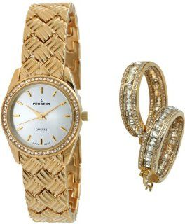 Peugeot Women's 648 Quilted Gold tone Watch & Crystal Earring Gift Set Watches