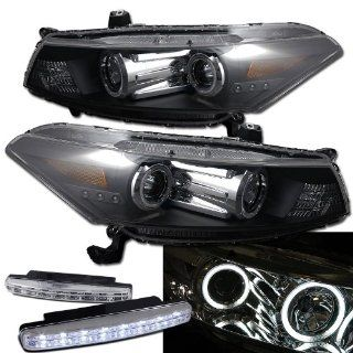 2008 Honda Accord Coupe Ccfl Halo Projector Headlights + 8 Led Fog Bumper Light Automotive