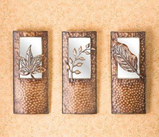 set of 3 mirrored metal leaves wall art southern enterprises ws0181   Wall Sculptures