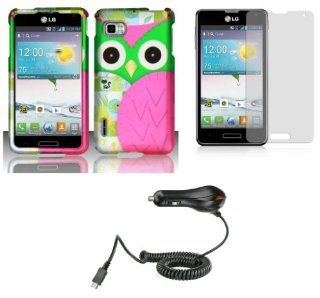 LG Optimus F3 (LS720, MS659)   Accessory Combo Kit   Hot Pink and Green Owl Design Shield Case + Atom LED Keychain Light + Screen Protector + Micro USB Car Charger Cell Phones & Accessories