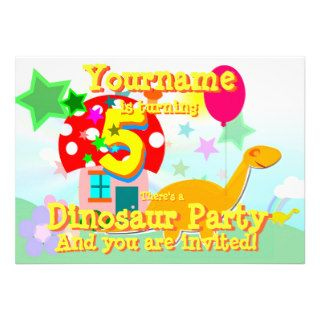 Cartoon Dinosaur 5th Birthday Party Invitations