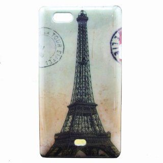 Highsound Old Paris Eiffel Tower Mail Stamp Back Cover Hard Snap on Case for Sony Xperia Miro ST23i Cell Phones & Accessories