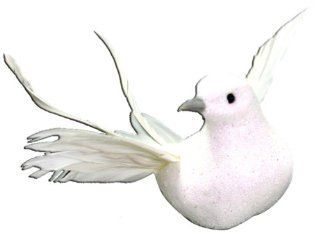 Touch of Nature 21245 Glitter Bird Flying White, 7 Inch