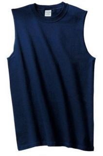 NEW Gildan Ultra Cotton   Sleeveless T Shirt Navy 2XL Clothing