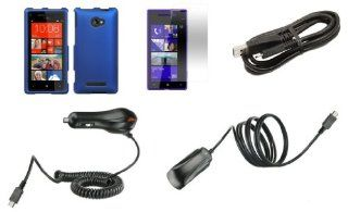 HTC Windows Phone 8X Premium Combo Pack   Blue Hard Shield Case + ATOM LED Keychain Light + Screen Protector + Wall Charger + Car Charger + Micro USB Cable Cell Phones & Accessories