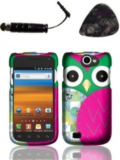 Samsung Exhibit II 4G T679 (T Mobile) Rubberized Design   Owl Design Snap on Hard Shell Cover Protector Faceplate AND HiShop(TM) Stylus, Guitar Pick/Pry Tool Cell Phones & Accessories