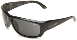 Arnette Men's Cheat Sheet AN4166 04 Wrap Sunglasses,Gloss Black Frame/Grey Lens,One Size Clothing
