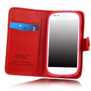 E LV Deluxe High Quality PU Leather Wallet Flip Case Cover for Samsung Galaxy S3 MINI i8190 (NOT FOR SAMSUNG S3) (Red, Samsung S3 Mini) Cell Phones & Accessories