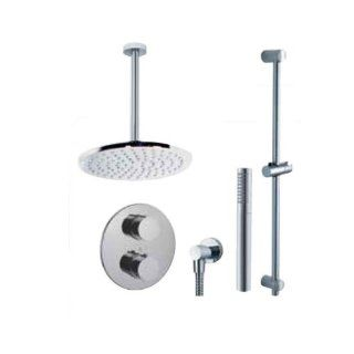 Fluid Faucets FT2RD CEILBN Round Thermostatic Shower Kit with Ceiling Mounted Shower Arm and Hand shower, Brushed Nickel, 1 Pack   Shower Systems