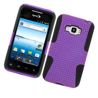 Eagle Cell PHLGLS696NTBKPL Progressive Hybrid Protective Gummy TPU Mesh Defense Case for LG Optimus Elite/Optimus M+/Optimus Plus   Retail Packaging   Black/Purple Cell Phones & Accessories