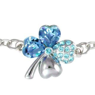 Four Leaf Clover Heart Shaped Swarovski Elements Crystal Rhodium Plated Chain Bracelet   Blue Dahlia Jewelry