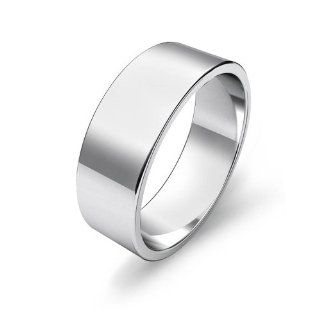 Men's Flat Wedding Band 7mm 18k White Gold Ring Jewelry