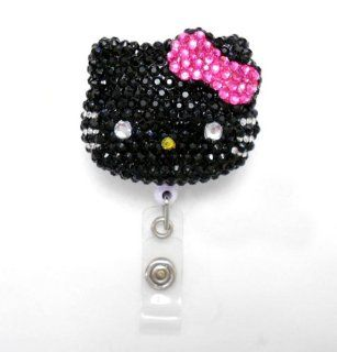 LOVEKITTY   3D Blinged Out Black Face Hot Pink Bow Hello Kitty Rhinestone Badge Reel / Name Badges / ID Badge Holder