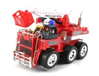 World Class Fire Rescue Crane Bump & Go Battery Operated Toy Truck w/ Extending Crane, Lights & Sounds Toys & Games