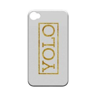 [Geeks Designer Line] Gold YOLO Apple iPhone 4 / 4S Plastic Case Cover [Anti Slip] Supports Premium High Definition Anti Scratch Screen Protector; Durable Fashion Snap on Hard Case; Coolest Ultra Slim Case Cover for iPhone 4 / 4S Supports Apple 4 / 4S Devi