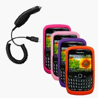 Four Silicone Cases / Skins / Covers (Pink, Hot Pink, Purple, Orange) & Car Charger for RIM BlackBerry Curve 3G 9330 / 9300 / 8520 / 8530 Cell Phones & Accessories