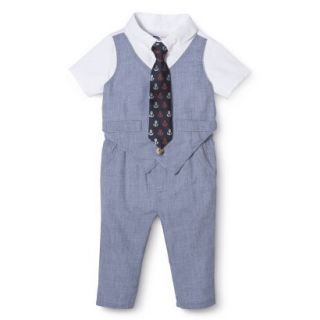 G Cutee Newborn Boys Short Sleeve Solid Romper   Chambray 18 M